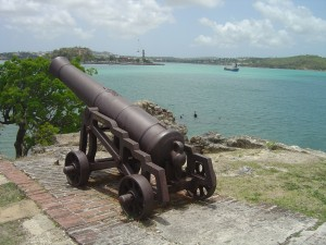 Warning shots were fired from Fort St James towards ships entering St John's harbour which did not pay their dues