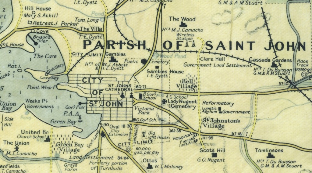 The Camacho-Moody map (1933) shows Lady Nugent cemetery, reformatory and lunatic asylum as well as Scotts Hill, home of G O Nugent, and Clare Hall.