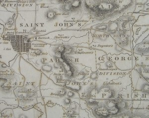 Johnson map of 1826 shoes distinct Skerret, Clare Hall and Folly estates. Millars is in the top right corner.