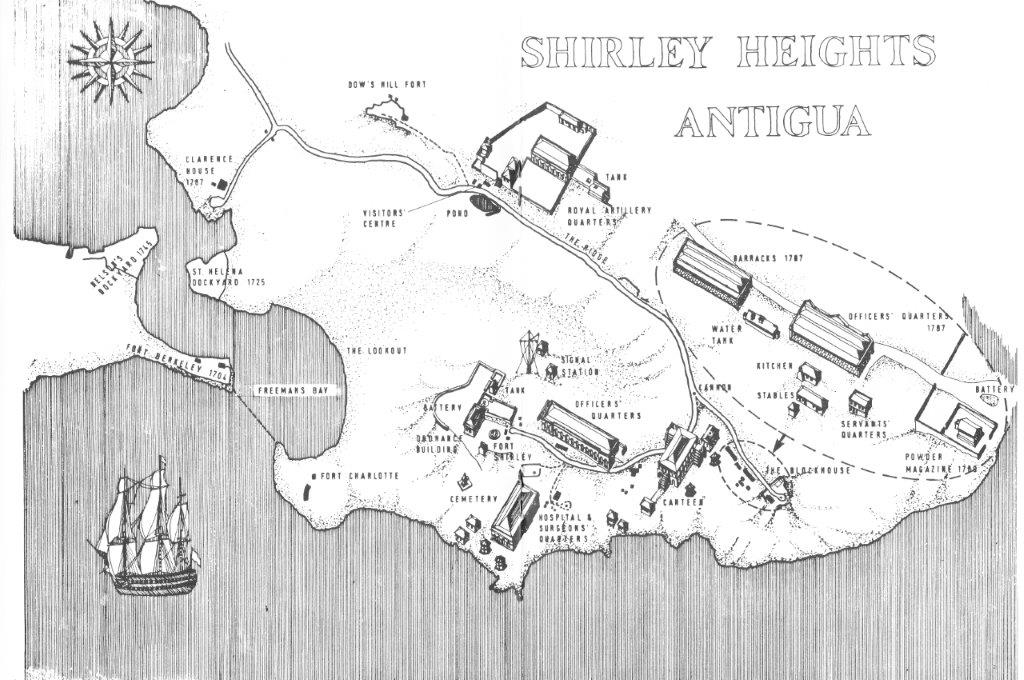 Shirley Heights were fortified in the 18th Century as this diagram from 'Shirley Heights: The Defence of Nelson's Dockyard' shows