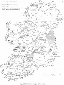 Irish lordships in the early 16th Century showing (close-up below) the Nugent family's possession of the lordship of Devlin close to 'the Pale' of Dublin. Click on image to enlarge.