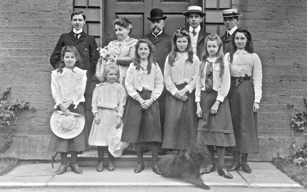 Nugents at White Windows around 1900. From left, back row: Charles, Caroline, Nicholas, Walter, Hugh; front Eileen, Lilian, Evelyn, Beatrice, Muriel and Margery