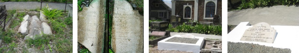 Sir Oliver and Lady Nugent's grave before and after restoration (click to enlarge)