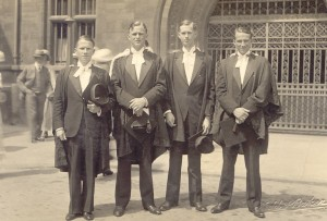 Degree day at Cambridge: 25 June 1935. Oliver is second from right.