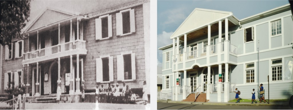 Oliver Nugent appeared at the Court in Basseterre (left) built around 1750 and destroyed by fire in 1982; the new Court was dedicated in 1998