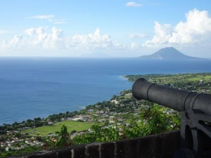 View from Brimstone Hill. In the distance is the Dutch island Sint Eustatius.