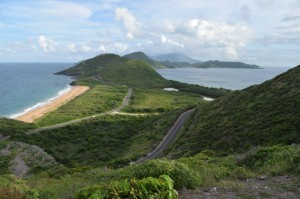 St Kitts, looking south towards the isthmus. In the distance is the volcanic island of Nevis.