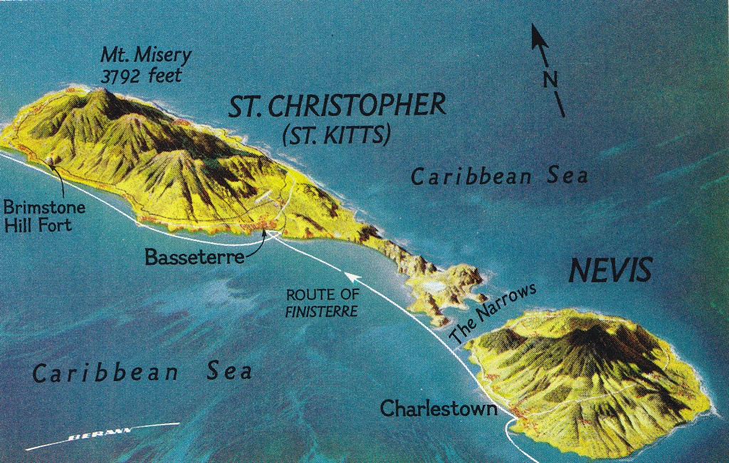 St Kitts and its neighbour, the volcanic island of Nevis. The highest point shown as Mount Misery (1156 m/3792 ft) is now known by its original name of Mount Liamuiga meaning 'fertile soil'.