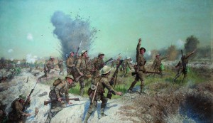 The charge of the Ulster Division, Somme, 1st July, 1916, by James Prinsep Beadle. Following the devastating casualties suffered by the 36th at the Somme, there were not enough Irish recruits to bring the division up to strength. One radical solution supported by Nugent involved the amalgamation of the two serving Irish divisions. (Belfast City Council)